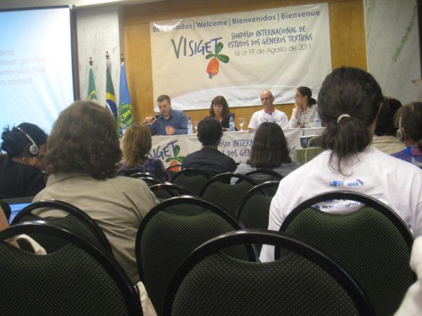 Conference-goers attend a panel at SIGET 2011, held at the Federal University of Rio Grande do Norte, in Natal, Brazil.